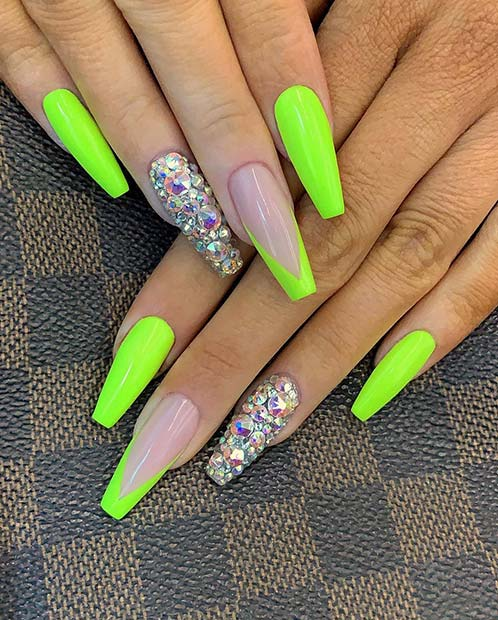 106 best nail designs images on Pinterest | Nail design ... |Neon Blue Nails
