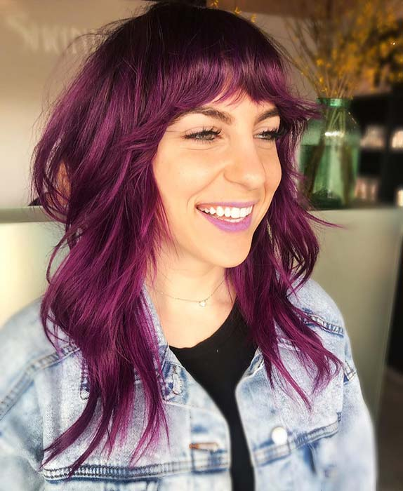 Vibrant Feathered Hair with Bangs