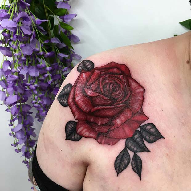 Vibrant Red Rose Tattoo