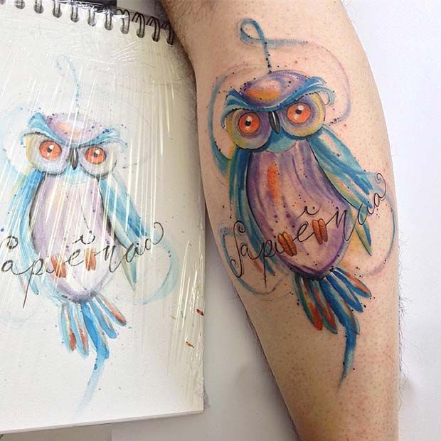 Watercolor Owl Design