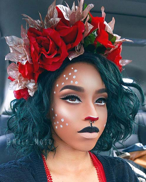 Beautiful Deer Makeup with a Floral Headband
