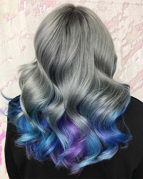 Beautiful Grey and Blue Hair