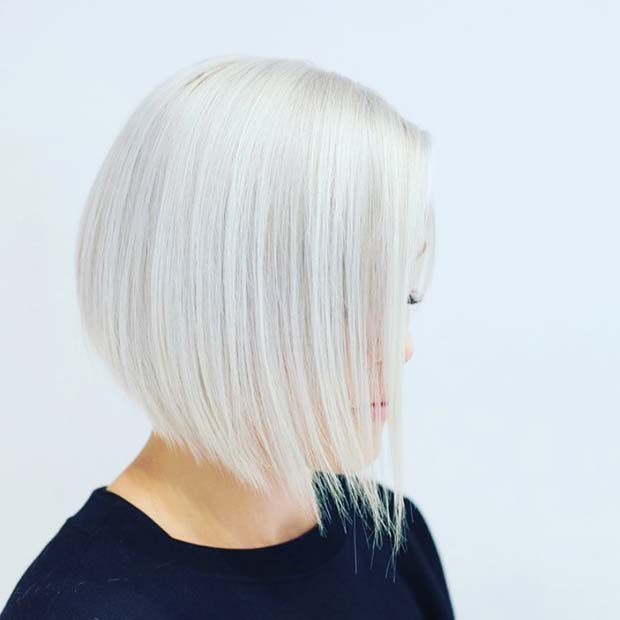Beautiful Silver Blonde Short Bob