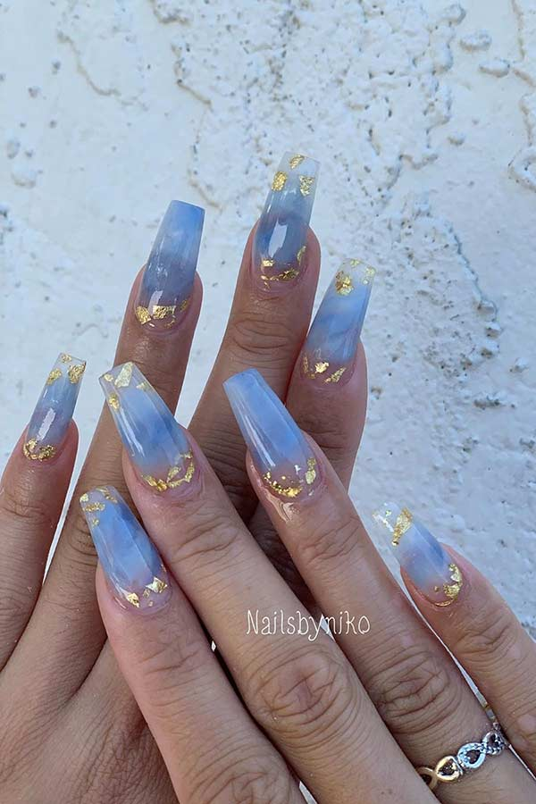 Blue Coffin Nails with Gold