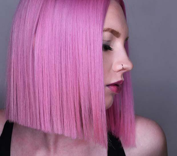 Pink Blunt Cut Bob