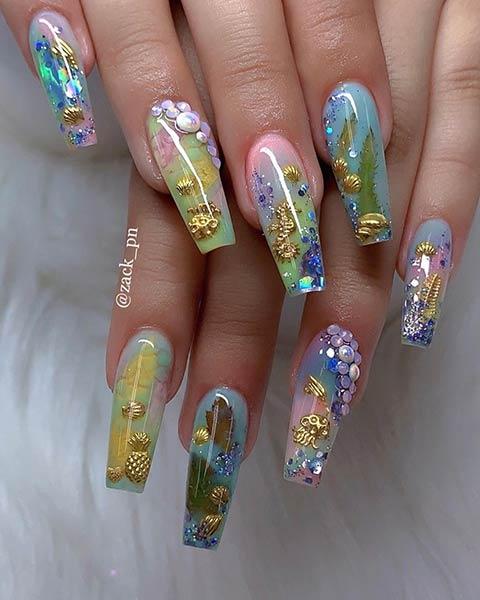 Bold Ocean Inspired Nails