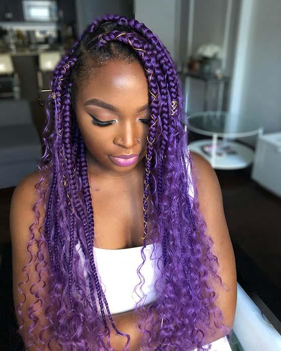 Bold Purple Box Braids