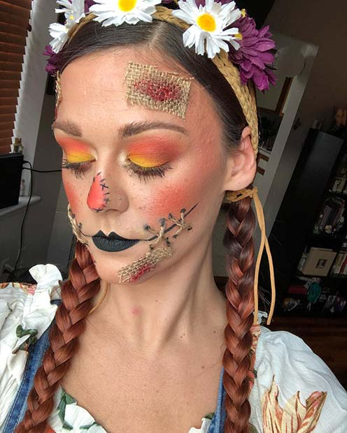 Burlap Scarecrow Makeup