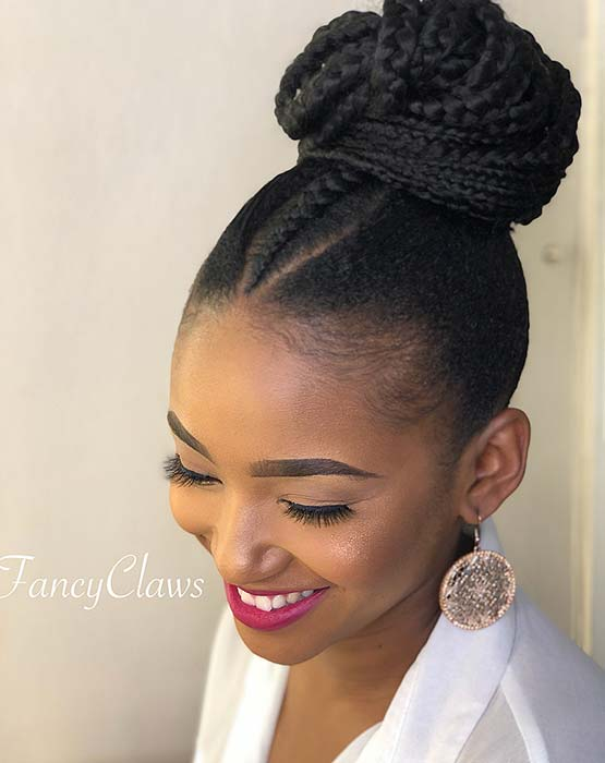 Chic Braided Bun with a Center Braid
