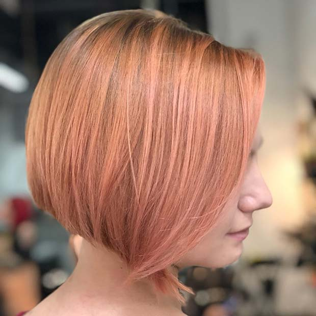 Rose Gold Chin Length Bob