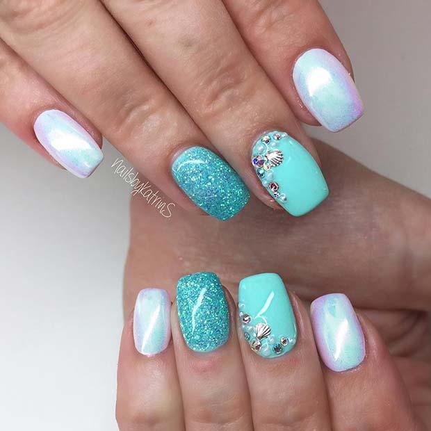 Chrome and Glitter Mermaid Nails