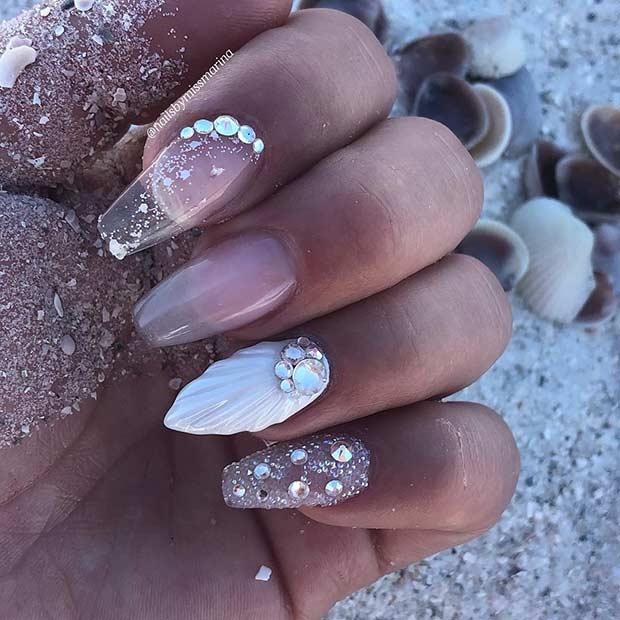Clear Mermaid Nail Design