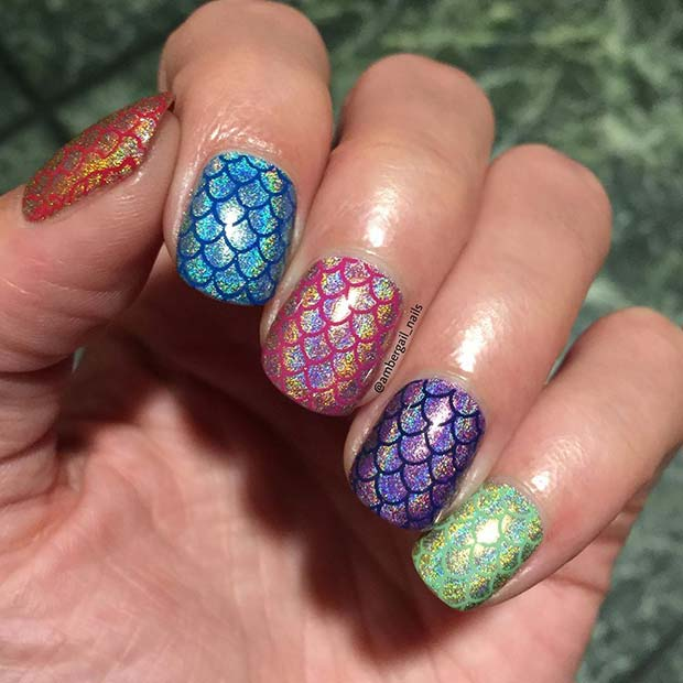 Mermaid Scale Nail Design