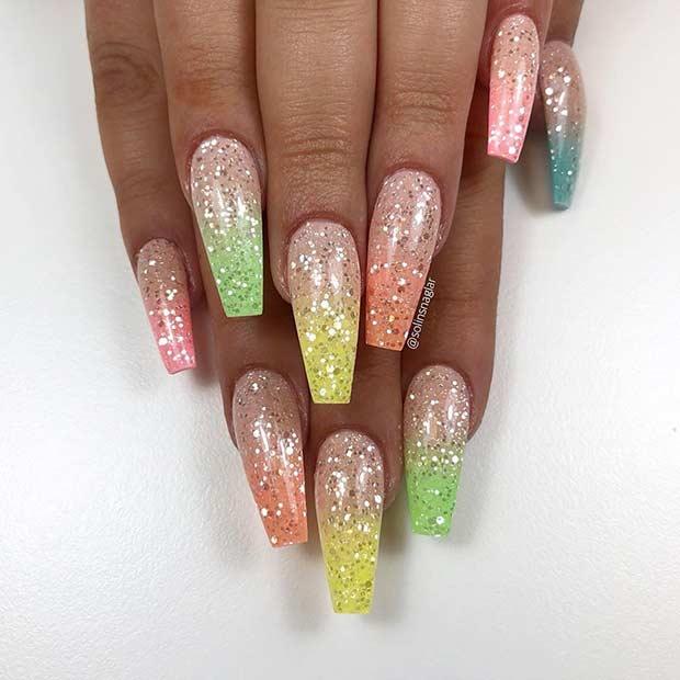Colorful Ombre Glitter Nails