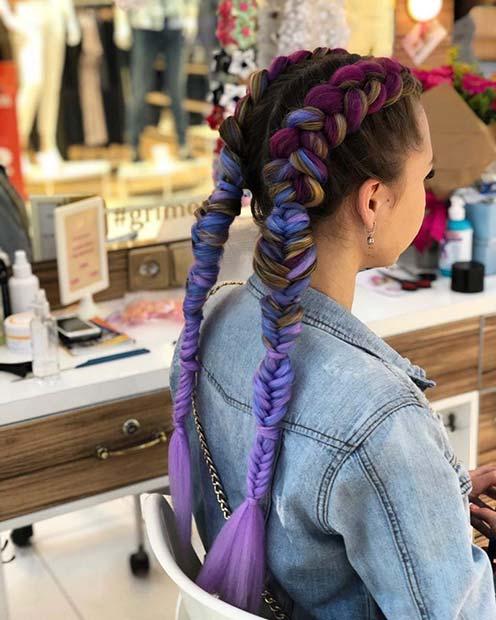 Colorful Cornrow Braids