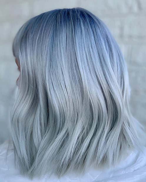 Cool Blue and Grey Hair
