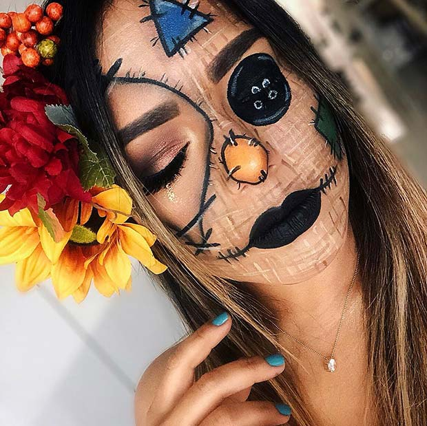 Creepy and Colorful Scarecrow Makeup