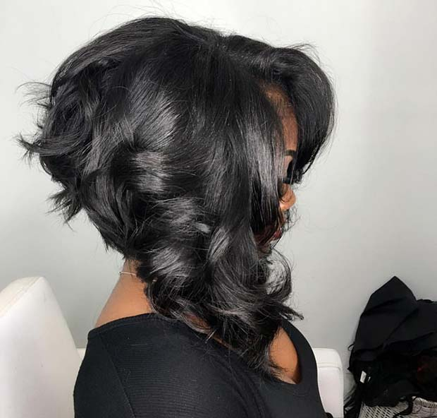 Curly Inverted Weave Bob