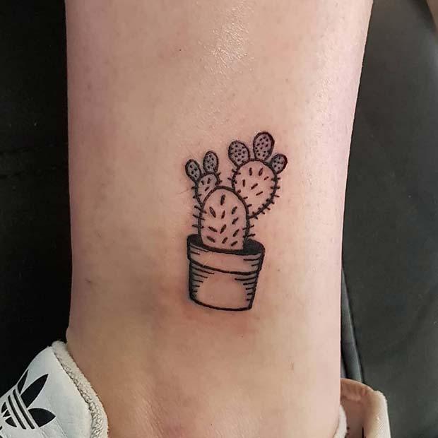 Cute Cactus Tattoo Idea