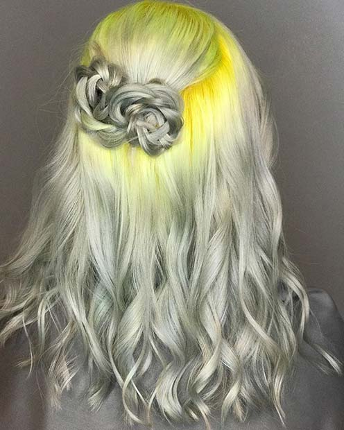 Unique Grey and Yellow Hair Idea