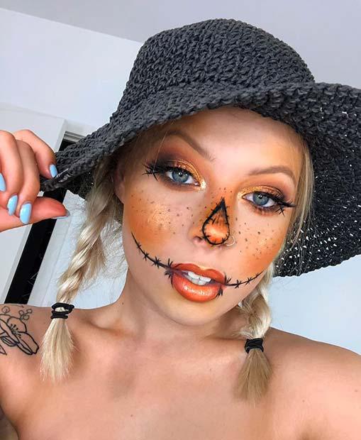 Cute Orange Scarecrow Makeup
