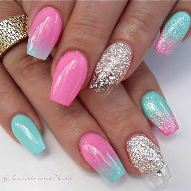 Cute Pink Ombre Nails with Shells