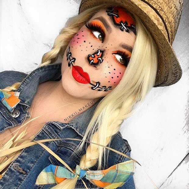 Pretty Scarecrow Makeup Idea