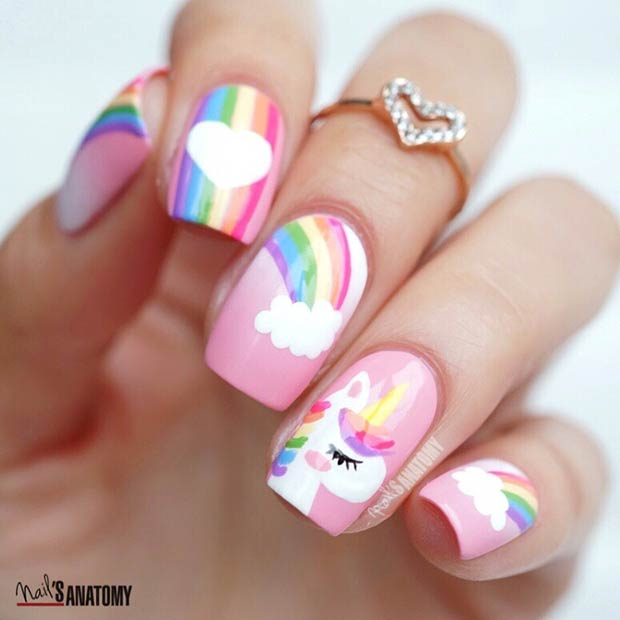 Unicorn Tipped Nail Art: 43 Magical Unicorn Nails That Are Taking Over Instagram
