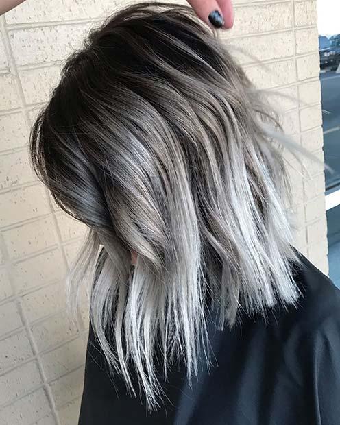 Edgy Black and Grey Hair