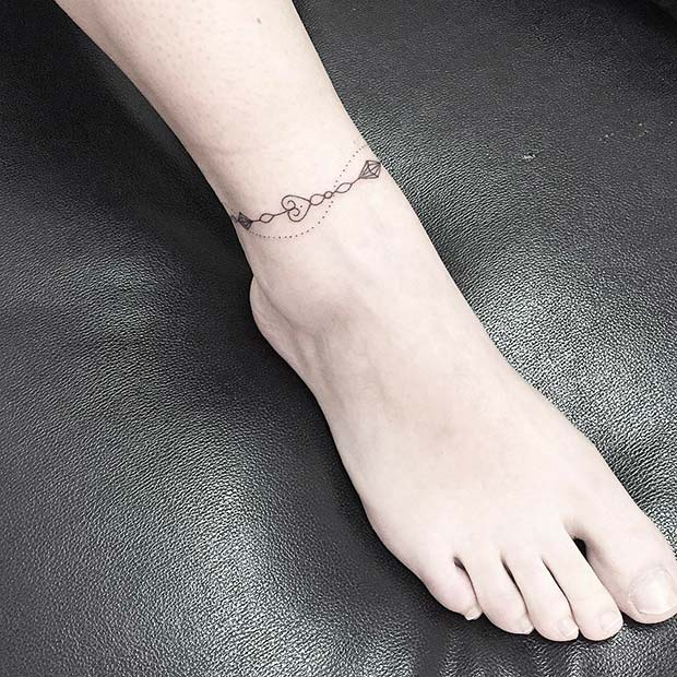 Elegant Ankle Bracelet Tattoo