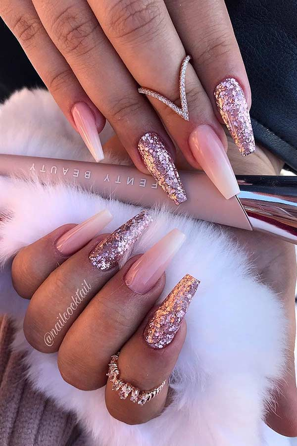 French Ombre and Glitter Coffin Nails