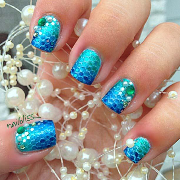 Glam and Bright Mermaid Nails