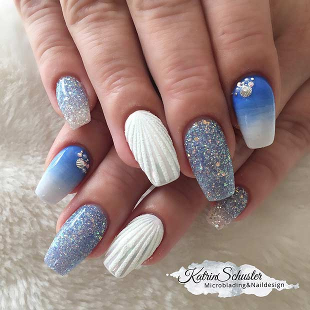Glitzy Mermaid Nail Art