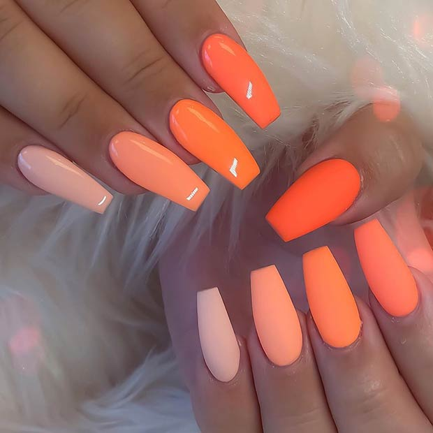 Glossy and Matte Orange Coffin Nails
