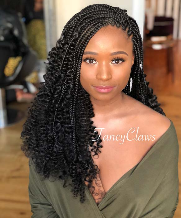 Goddess Box Braids with Tight Curls