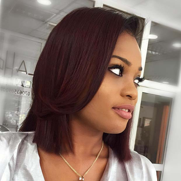 Gorgeous Dark Burgundy Bob