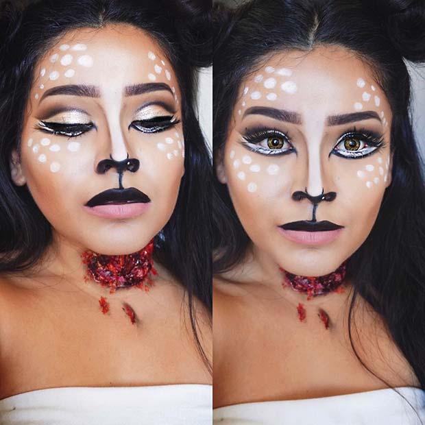 Gory Deer Makeup for Halloween