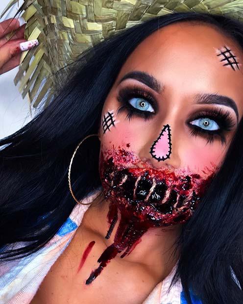 Gory Scarecrow Makeup