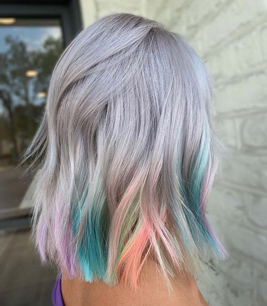 Grey Bob with Colorful Highlights