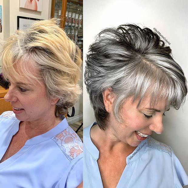 Grey and Black Short Cut