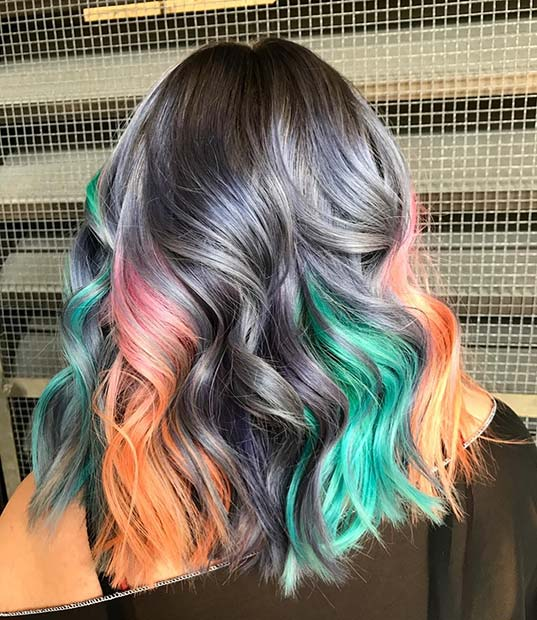 Grey and Multi Color Hair