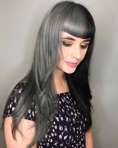 Half Grey and Half Black Hair