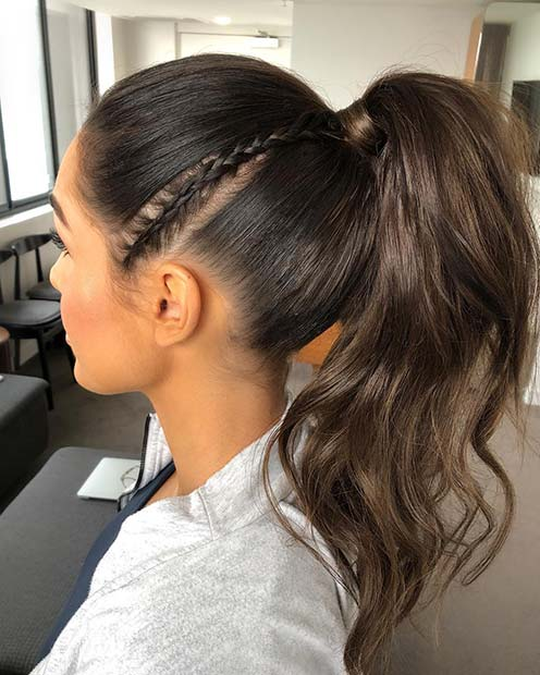 High Ponytail with a Small Side Braid