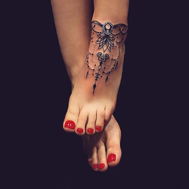 Jewelry Style Ankle Tattoo