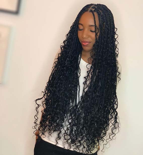 Long Box Braids with Beautiful Curls