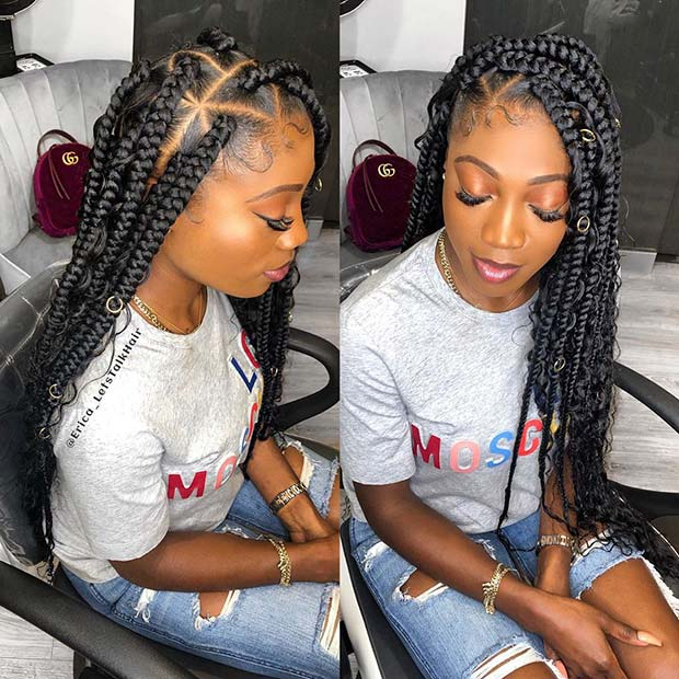 Long Goddess Box Braids with Trendy Triangle Parts