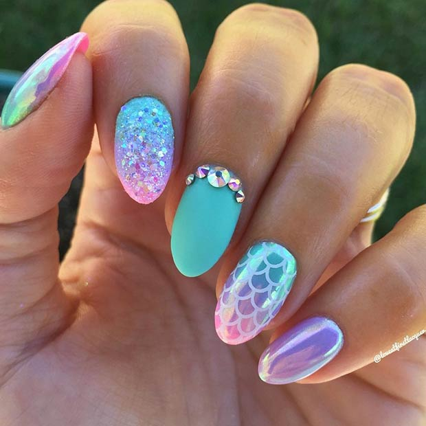 Matte and Chrome Mermaid Nails