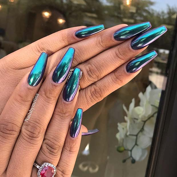 Mermaid Chrome Nails