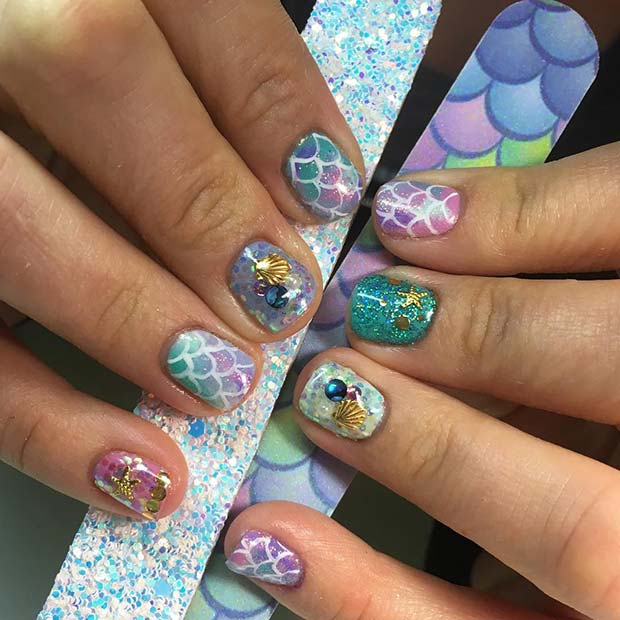 Cute Mermaid Nail Design for Short Nails