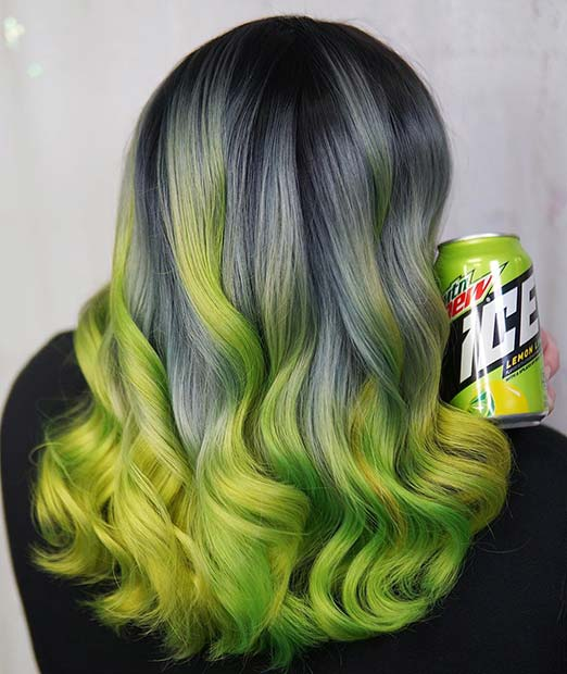 Neon Green and Grey Hair